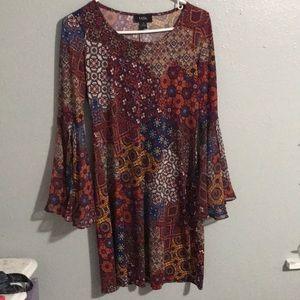 MSK flared sleeve dress unique pattern size S